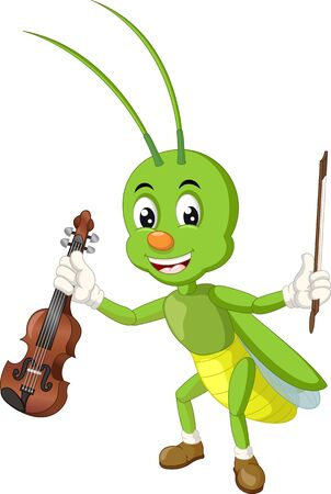 Funny Green Grasshopper With Brown Violin Cartoon for your design Фото со стока - 129792921