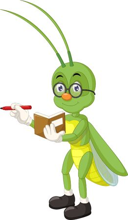 Funny Green Grasshopper Wearing Glasses Cartoon for your design