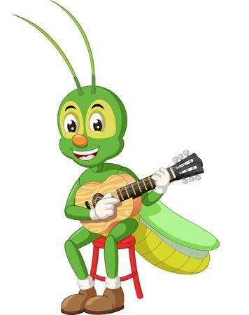 Lustige grüne Heuschrecke, die Akustikgitarre-Karikatur für Ihr Design spielt
