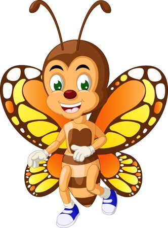 Funny Brown Orange Butterfly Cartoon for your design Stockfoto - 129792926