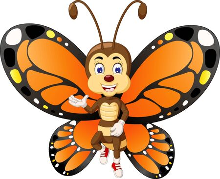 Funny Orange Black Butterfly Cartoon for your design