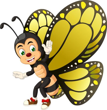 Funny Yellow Butterfly Cartoon for your design