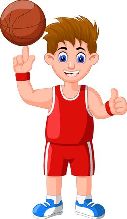 Funny Basketball Boy Player In Red Uniform Cartoon for your design