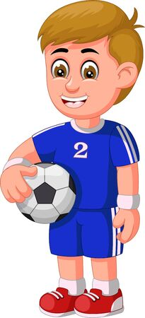 Funny Football Player In Blue Uniform Cartoon for your design Stock Illustratie