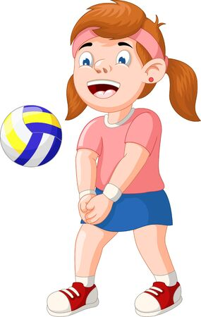 Funny Volleyball Girl Player Cartoon for your design Standard-Bild - 129792931