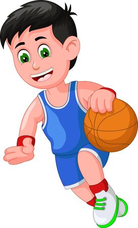 Funny Basketball Player In Blue Uniform Cartoon for your design