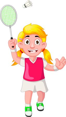 Funny Badminton Girl Player In Pink Shirt Cartoon for your design Stock Illustratie