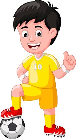 Funny Yellow Football Player Cartoon for your design Stock Illustratie