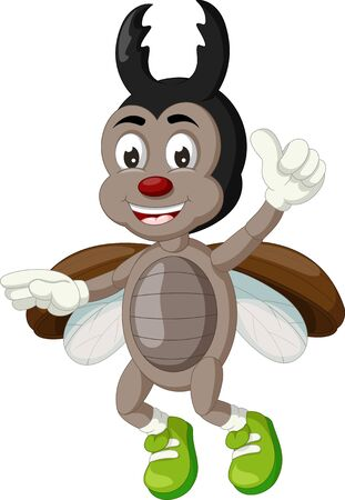 Funny Grey Brown Black Beetle Cartoon for your design