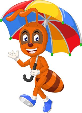 Funny Brown Ant With Umbrella Cartoon for your design Stock Illustratie