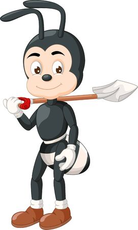 Funny Black Ant With Shovel Cartoon for your design Stock Illustratie