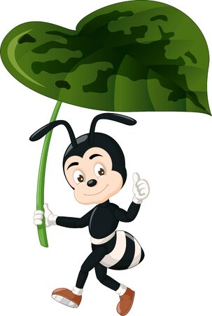 Funny Black Ant Holding Green Leaf Cartoon for your design
