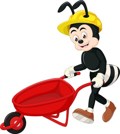 Funny Black Ant Wearing Yellow Helmet With Red Cart Cartoon for your design