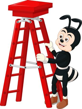 Funny Black Ant With Red Ladder Cartoon for your design Stock Illustratie