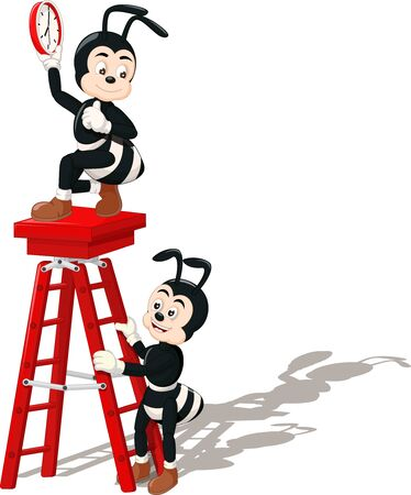 Funny Two Black Ant With Red Ladder Placing A Clock Cartoon for your design