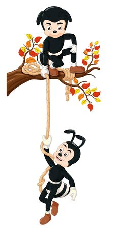 Funny Two Black Ants Climbing A Tree With Rope Cartoon for your design