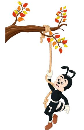 Funny Black Ant Climbing A Tree With Rope Cartoon for your design