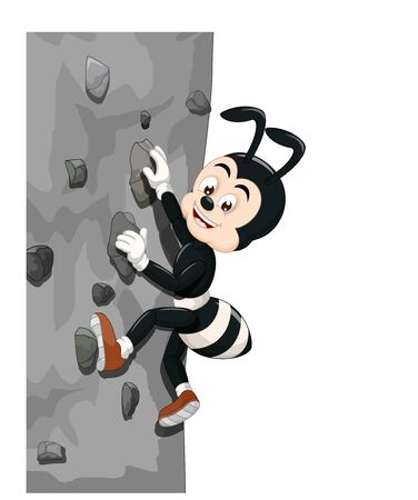 Funny Black Ant Climbing A Rock Wall Cartoon for your design Zdjęcie Seryjne - 129792993