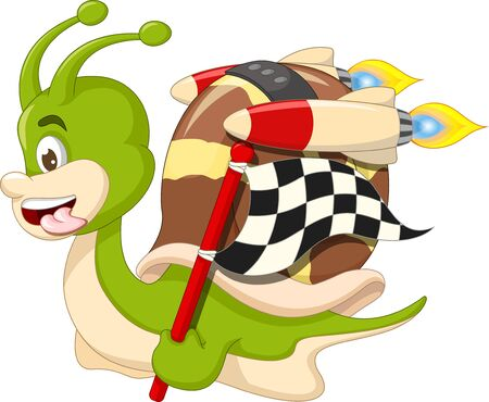 Funny Racing Brown Green Snail Cartoon for your design