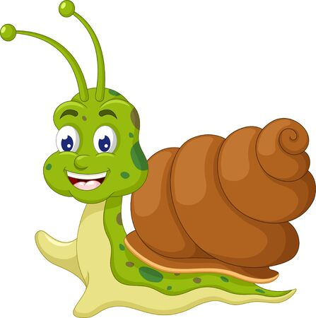 Funny Brown Green Snail Cartoon for your design