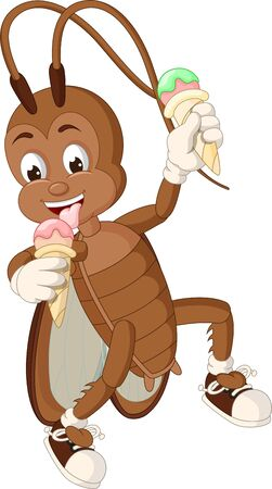 Funny Brown Cockroach Eating Ice Cream Cartoon for your design