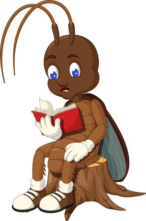 Funny Brown Cockroach Reading Red Book Cartoon for your design Stockfoto - 129793008