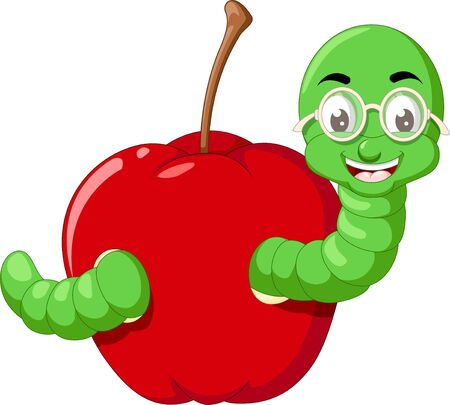Funny Green Caterpillar Wearing Glasses With Red Apple Cartoon for your design Stock Illustratie