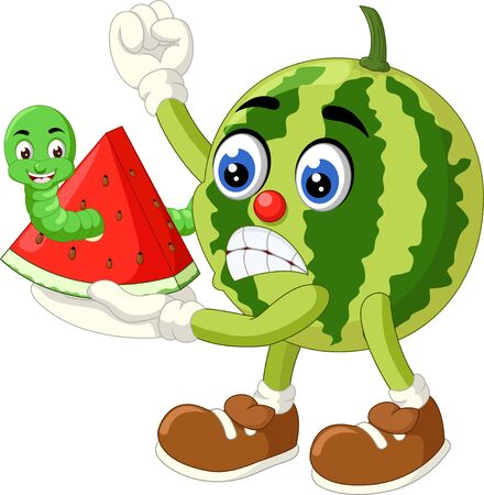 Funny Green Watermelon With Green Caterpillar Cartoon for your design Stock Illustratie