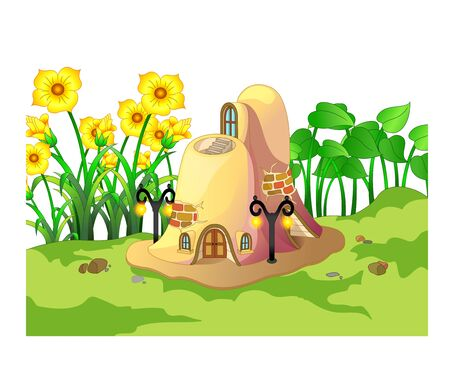 Funny Brown Ant House With Sunflower Cartoon for your design
