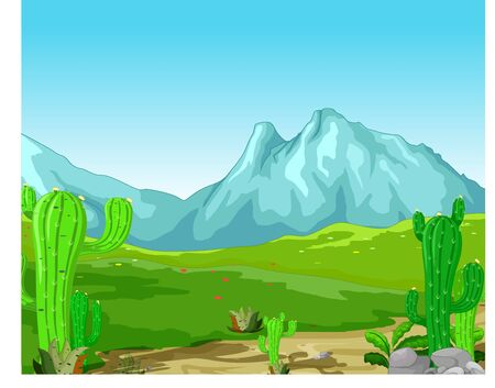 Cool Landscape Hill Mountain Cartoon for your design Stock Illustratie