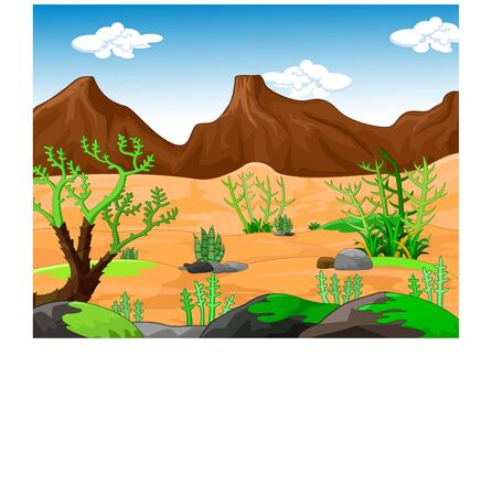 Cool Desert Landscape Cartoon for your design