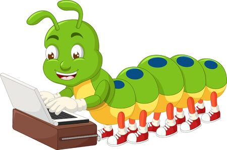 Funny Green Caterpillar Playing Laptop Cartoon for your design