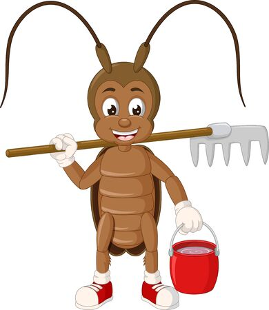 Funny Brown Cockroach WIth Fork And Basket Cartoon for your design