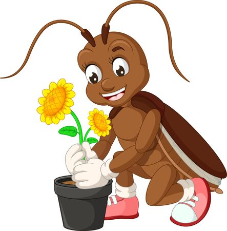 Funny Brown Cockroach With Sun Flower Cartoon for your design Stock Illustratie