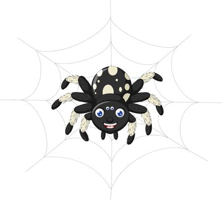 Funny Black White Spider Cartoon for your design