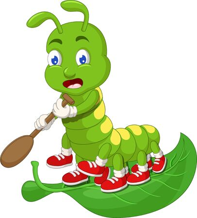 Funny Green Caterpillar With Green Leaf Cartoon for your design