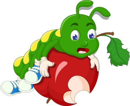Funny Green Caterpillar With Red Apple Cartoon for your design Stock Illustratie