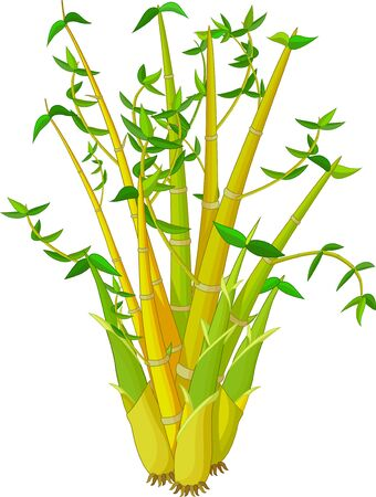 Cool Yellow Green Bamboo Tree Cartoon for your design