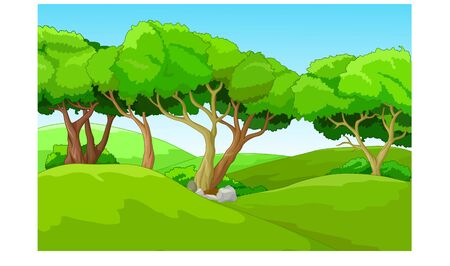 Funny Hill Landscape Cartoon for your design Stock Illustratie