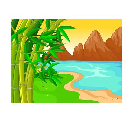 Funny Lake Landscape Cartoon for your design