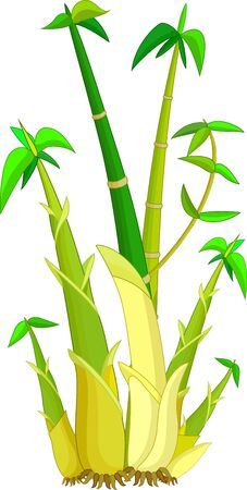 Yellow Green Bamboo Cartoon for your design Illustration