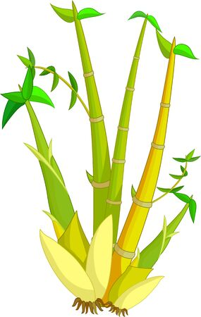 Green Yellow Bamboo Cartoon for your design Stock Illustratie