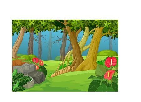Funny Forest Landscape Cartoon for your design