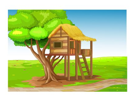 Cool Brown Wood House Cartoon for your design