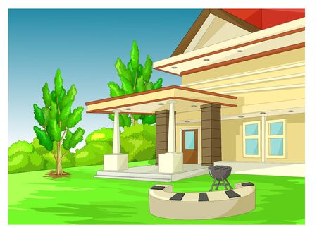 Cool House Building Cartoon for your design