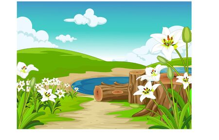 Beatiful Grass Hill Landscape With Lake And Flower Cartoon for your design Illustration
