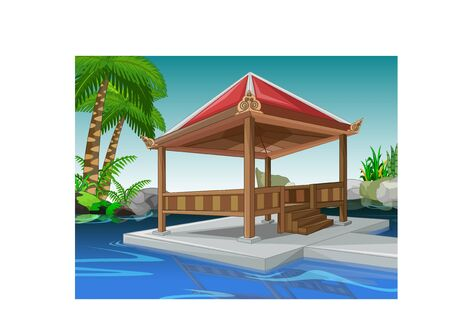 Cool Park With Swimming Pool And Gazebo Cartoon For Your ...