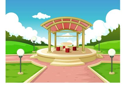 Cool Park With Grass Hill And Building Cartoon for your design 矢量图像