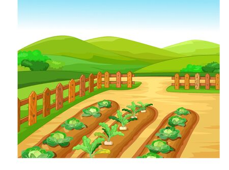 Cool Farm Village With Grass Hill Landscape Cartoon for your design