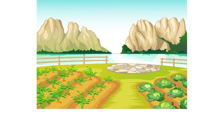 Cool Farm Village With Lake And Rock Mountain View Cartoon for your design